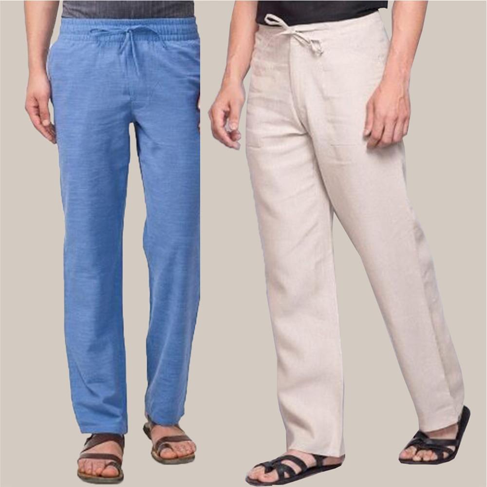 Combo of 2 Cotton Men Handloom Pant Blue and Beige-34877