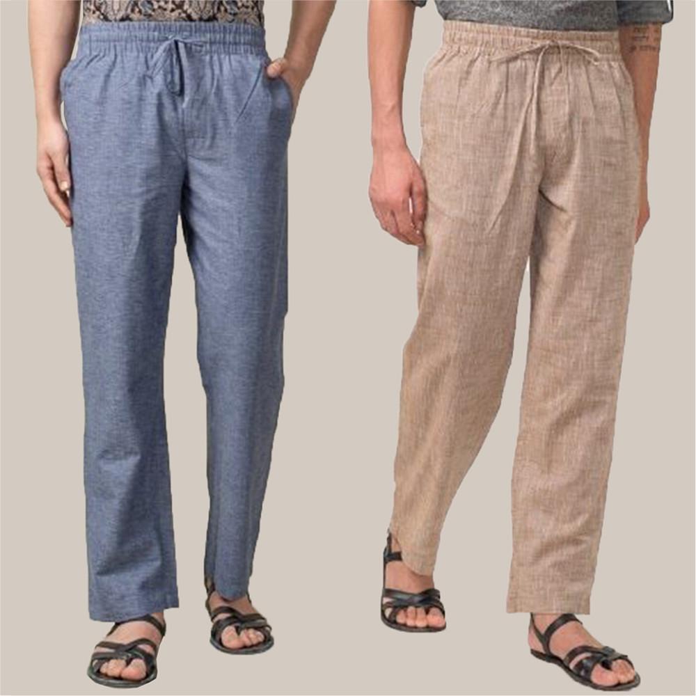 Combo of 2 Cotton Men Handloom Pant Blue and Beige-34888