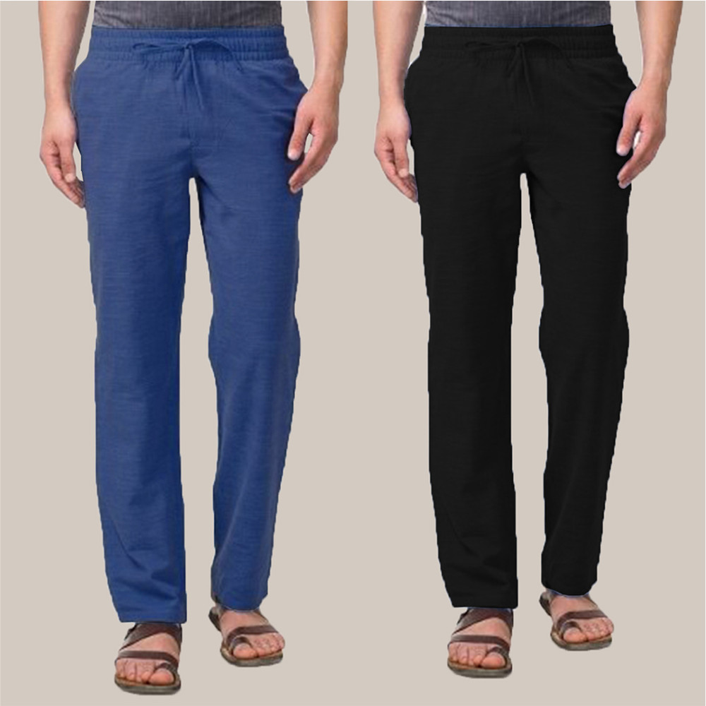 Combo of 2 Cotton Men Handloom Pant Blue and Black-34886