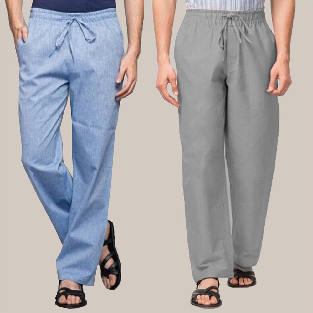 Combo of 2 Cotton Men Handloom Pant Blue and Gray-34868