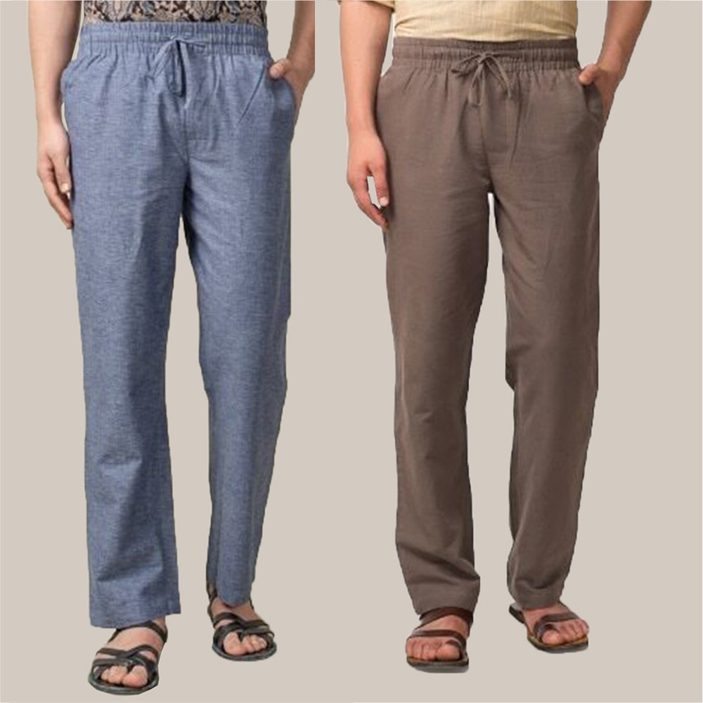 Combo of 2 Cotton Men Handloom Pant Blue and Gray-34891