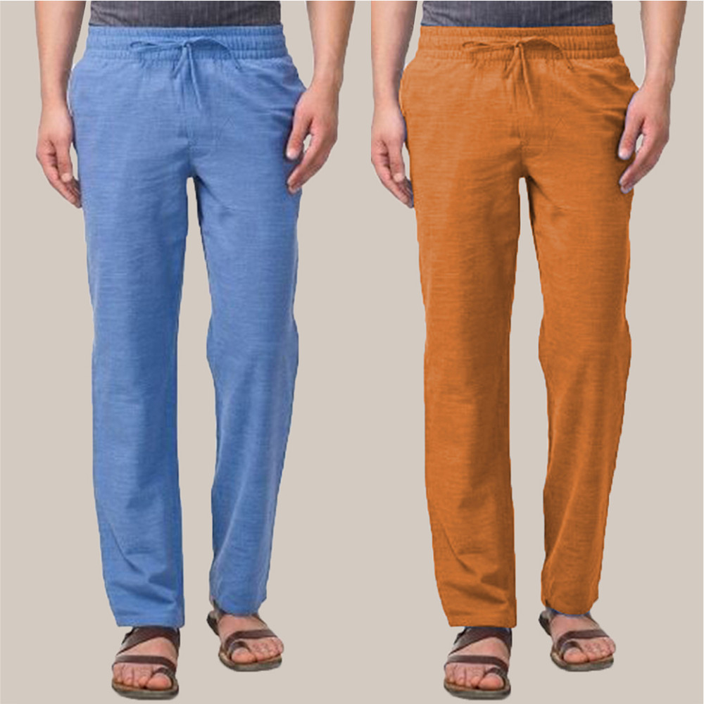 Combo of 2 Cotton Men Handloom Pant Blue and Mustard-34879