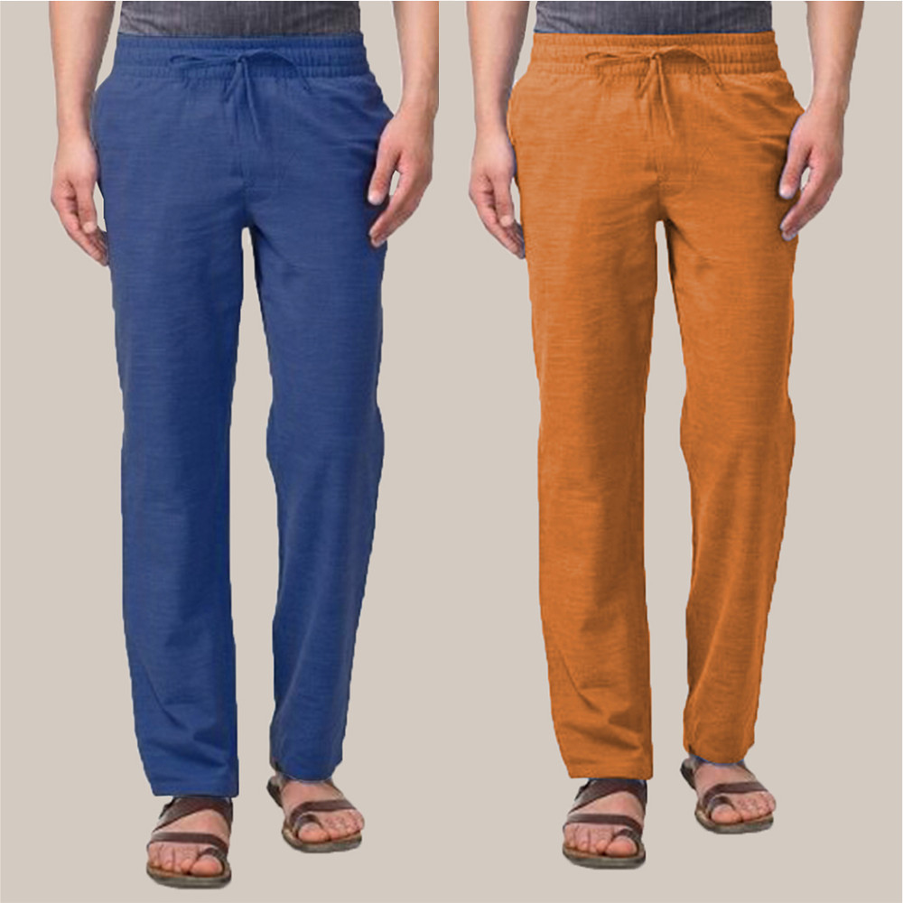 Combo of 2 Cotton Men Handloom Pant Blue and Mustard-34887