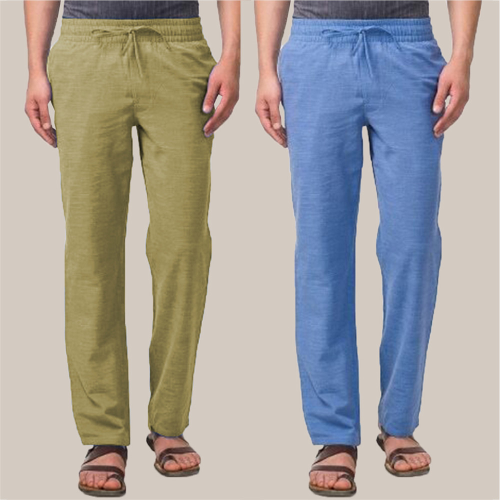 Combo of 2 Cotton Men Handloom Pant Blue and Olive Green-34863