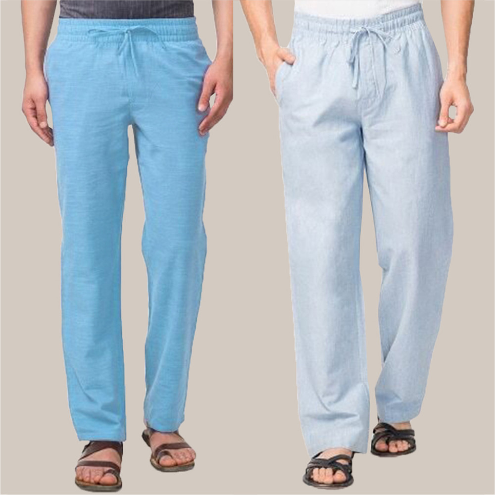 Combo of 2 Cotton Men Handloom Pant Blue and Sky Blue-34845