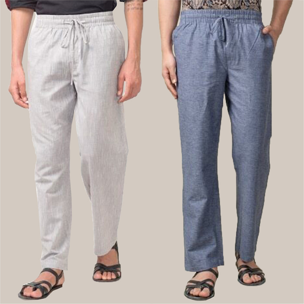Combo of 2 Cotton Men Handloom Pant Blue and White-34842