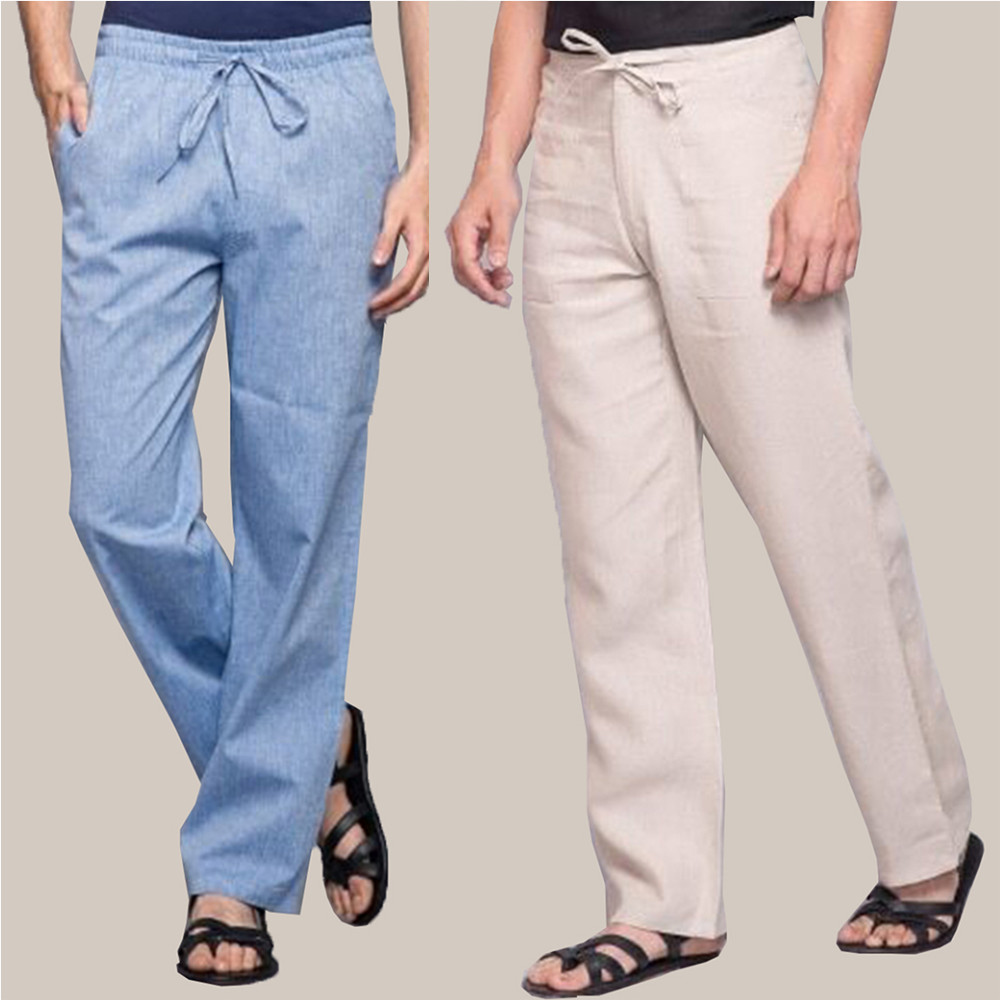 Combo of 2 Cotton Men Handloom Pant Blue and White-34867