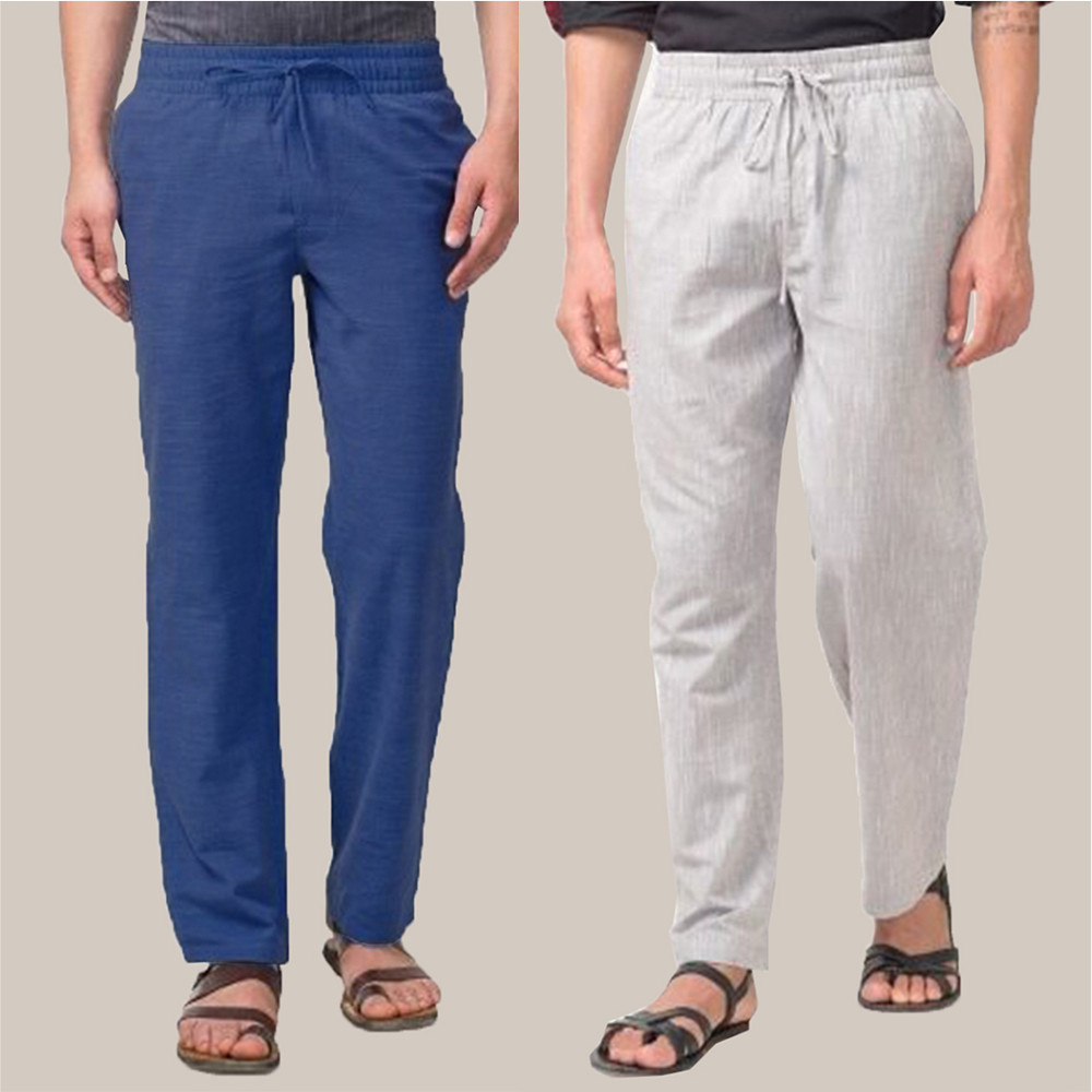 Combo of 2 Cotton Men Handloom Pant Blue and White-34884