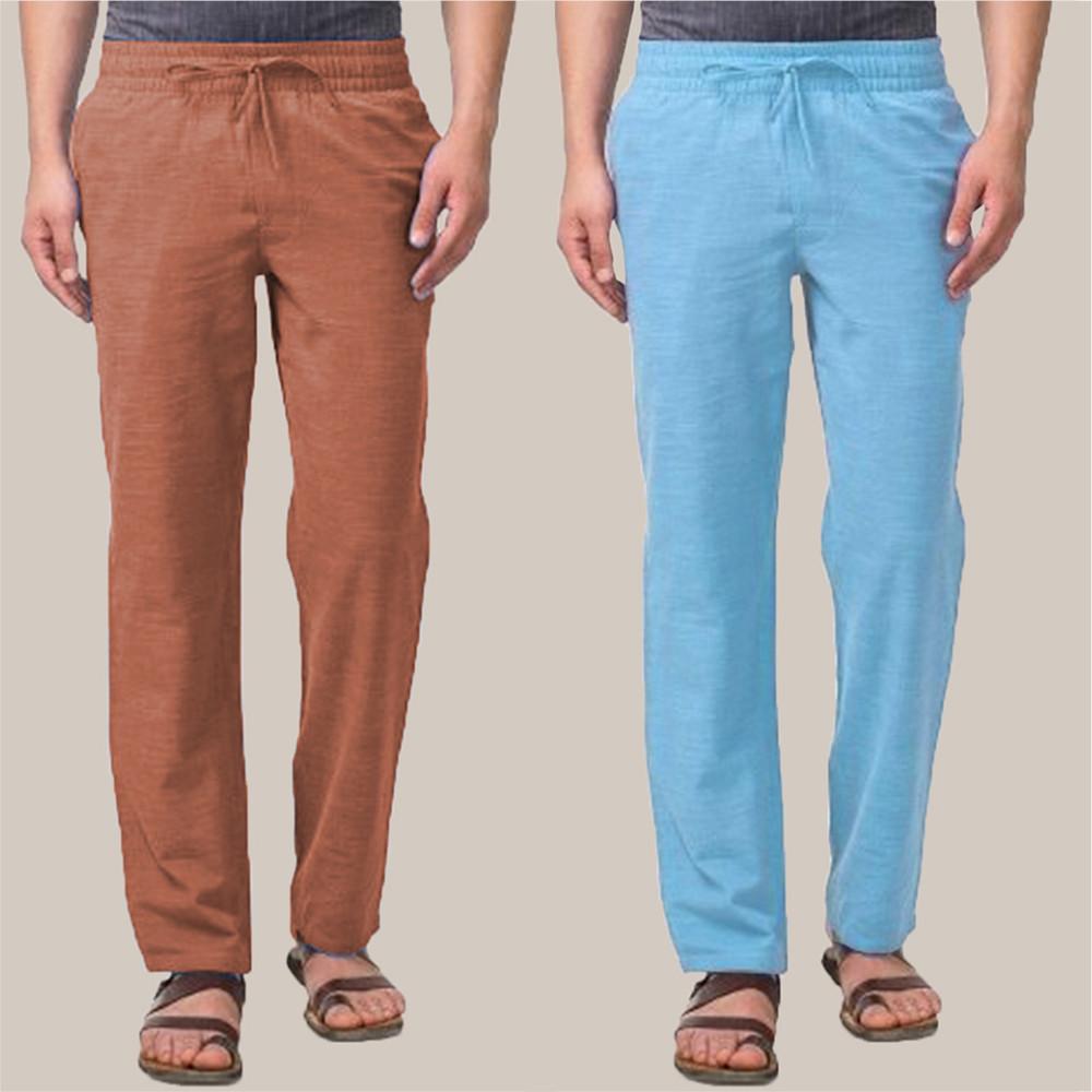 Combo of 2 Cotton Men Handloom Pant Brown and Cyan-34860