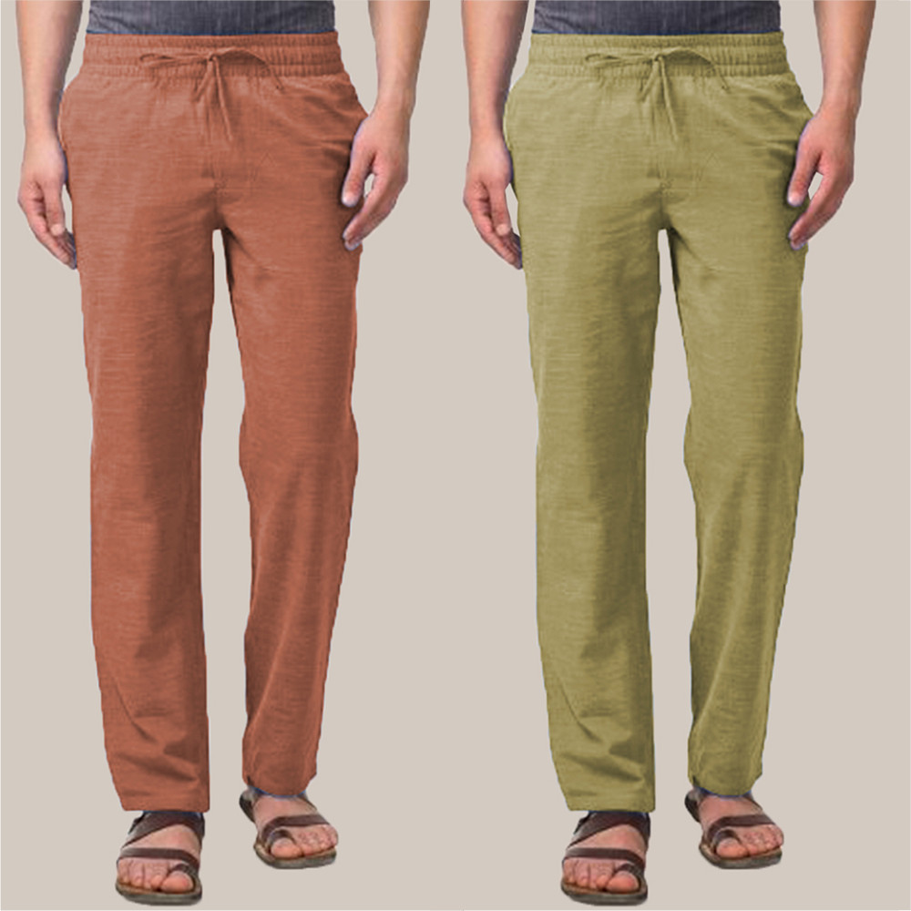 Combo of 2 Cotton Men Handloom Pant Brown and Olive Green-34855