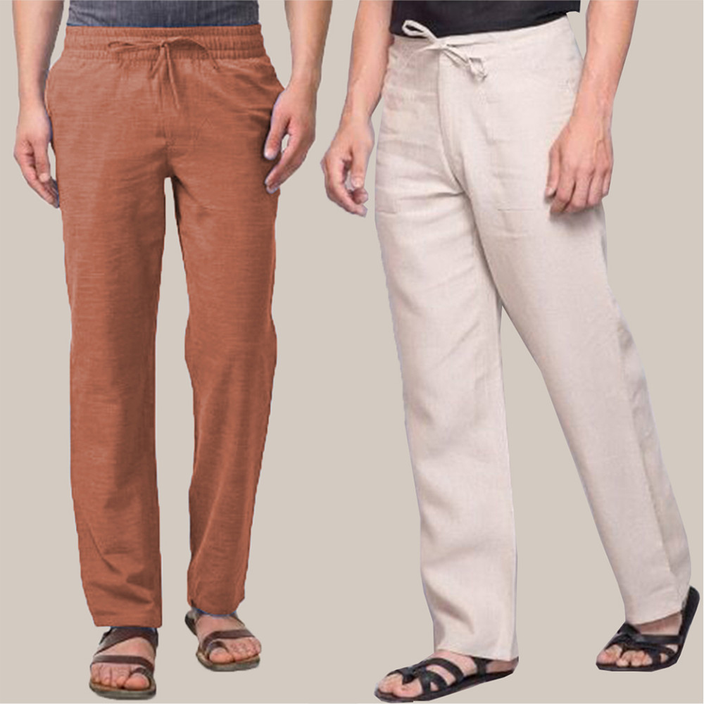 Combo of 2 Cotton Men Handloom Pant Brown and White-34856