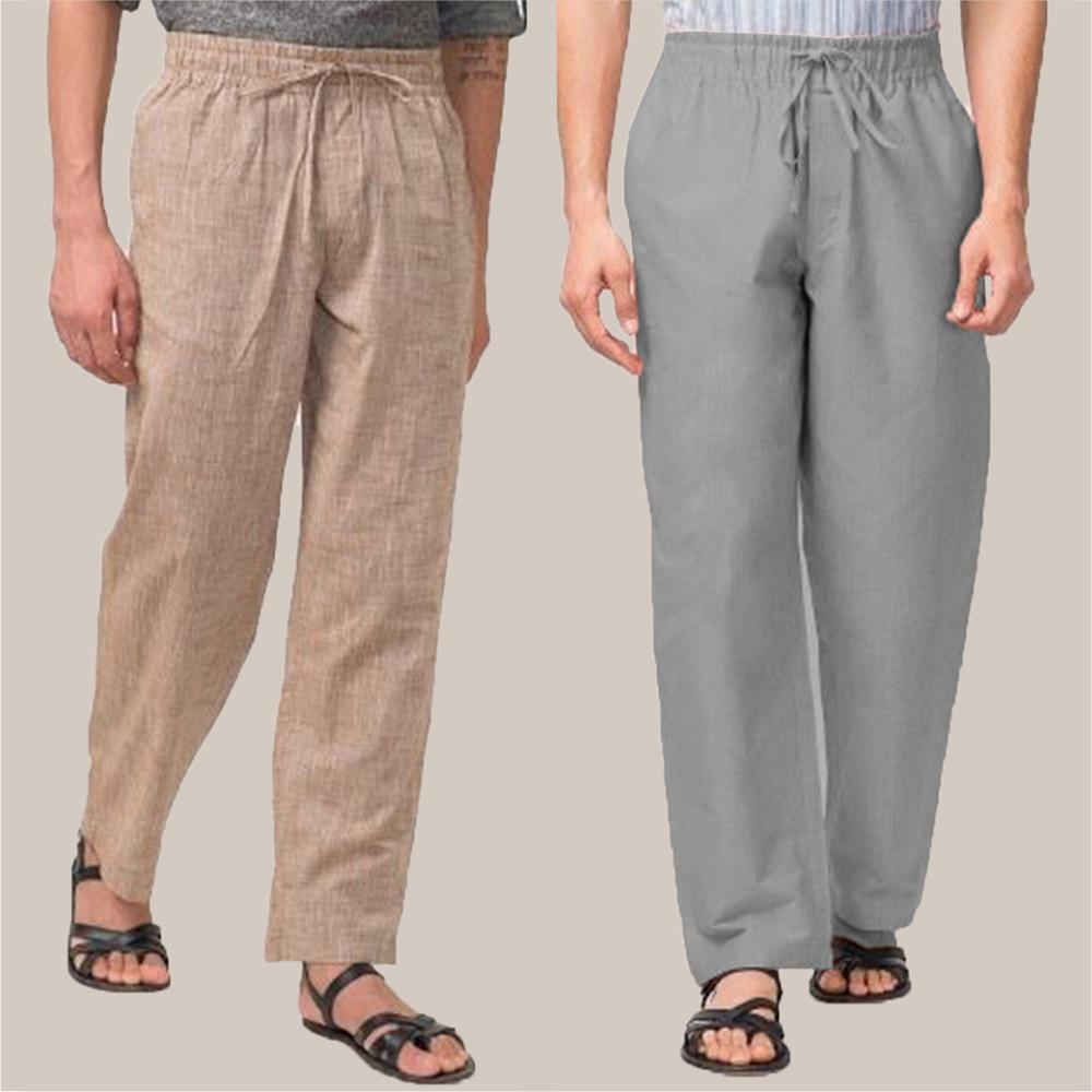 Combo of 2 Cotton Men Handloom Pant Gray and Beige-34830