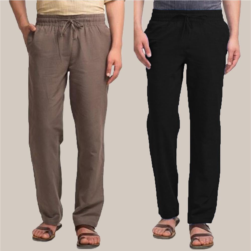 Combo of 2 Cotton Men Handloom Pant Gray and Black-34900