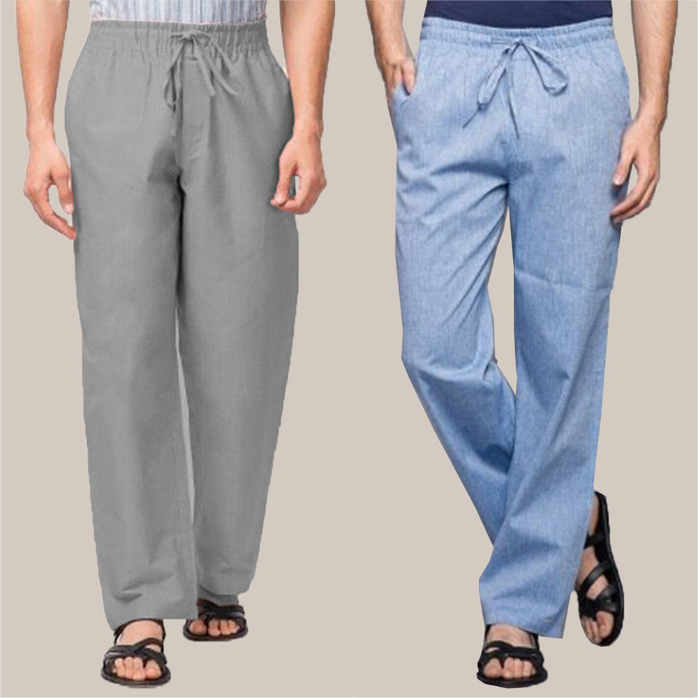 Combo of 2 Cotton Men Handloom Pant Gray and Blue-34851