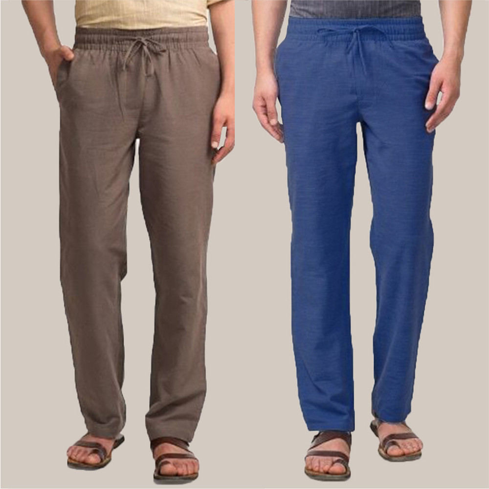 Combo of 2 Cotton Men Handloom Pant Gray and Navy Blue-34902