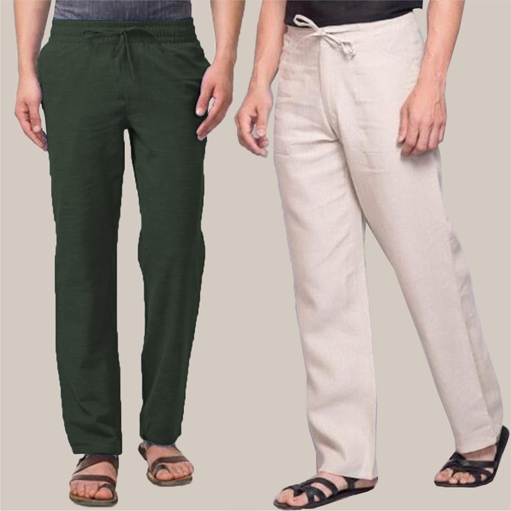 Combo of 2 Cotton Men Handloom Pant Green and Beige-34906