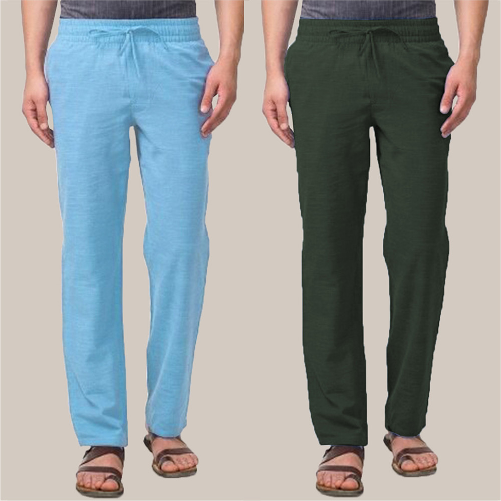 Combo of 2 Cotton Men Handloom Pant Green and Blue-34850