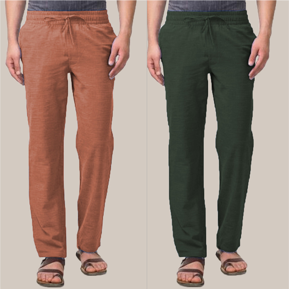 Combo of 2 Cotton Men Handloom Pant Green and Brown-34861