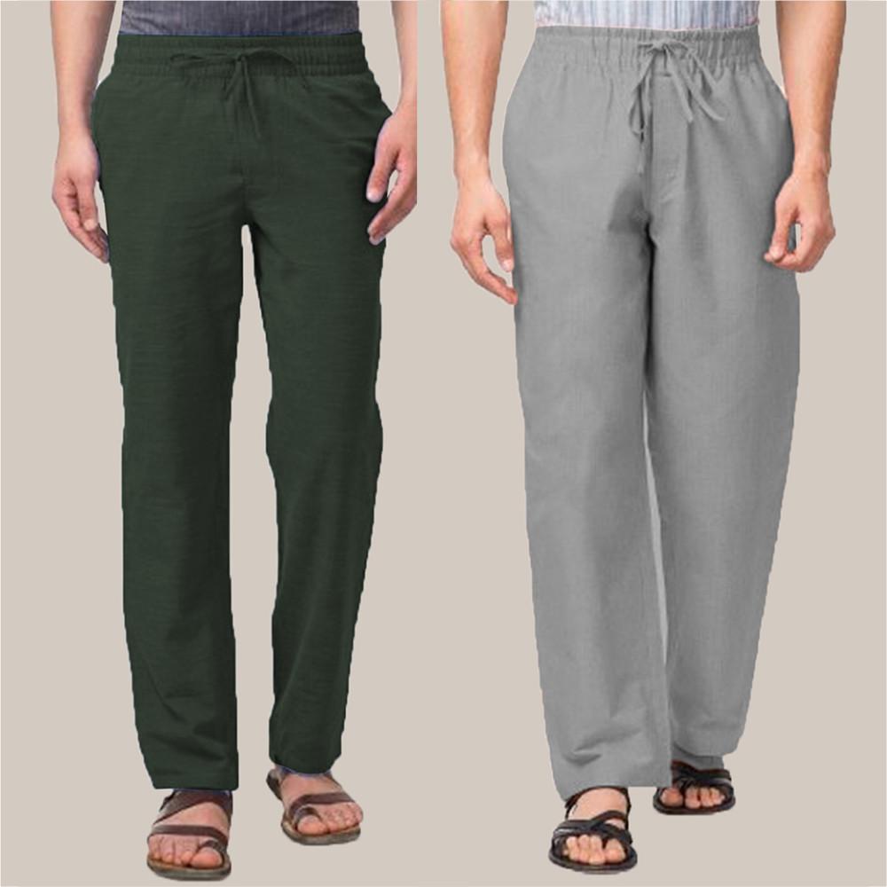 Combo of 2 Cotton Men Handloom Pant Green and Gray-34904
