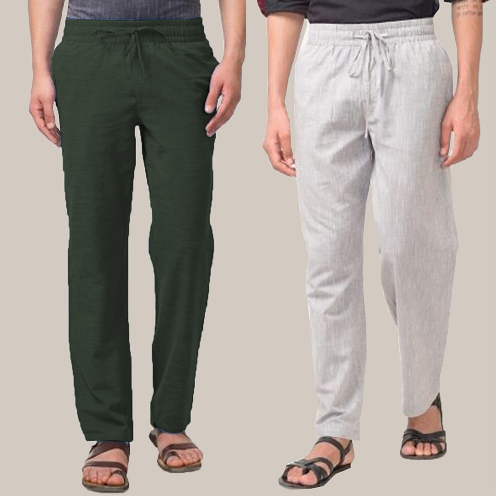 Combo of 2 Cotton Men Handloom Pant Green and White-34903
