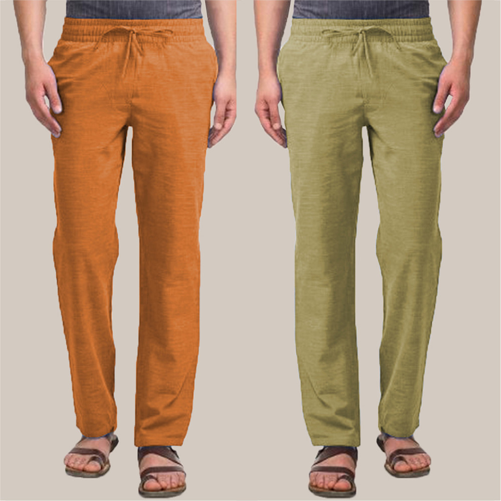 Combo of 2 Cotton Men Handloom Pant Mustard and Olive Green-34899