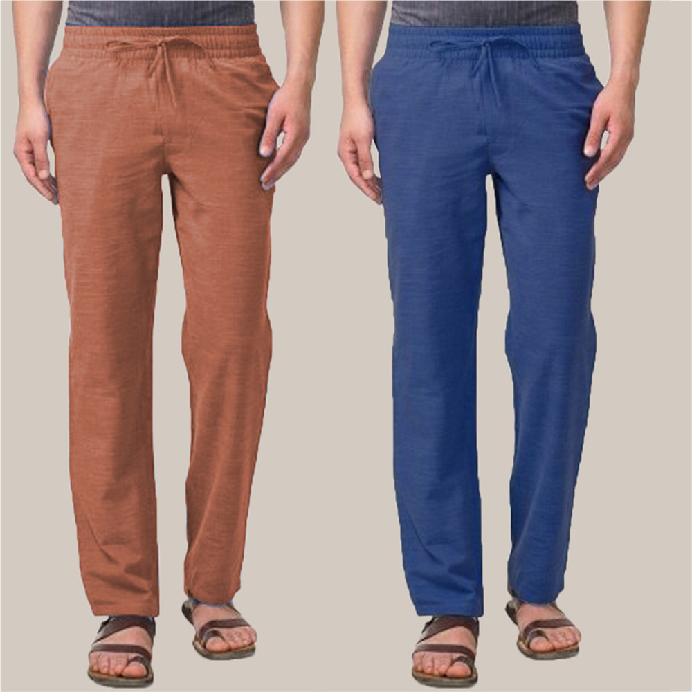 Combo of 2 Cotton Men Handloom Pant Navy Blue and Brown-34858