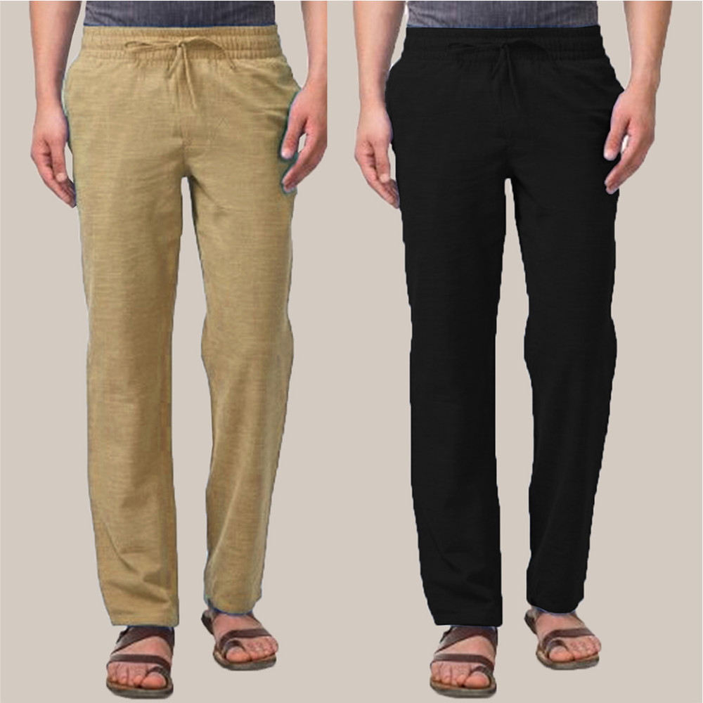 Combo of 2 Cotton Men Handloom Pant Olive Green and Black-34876