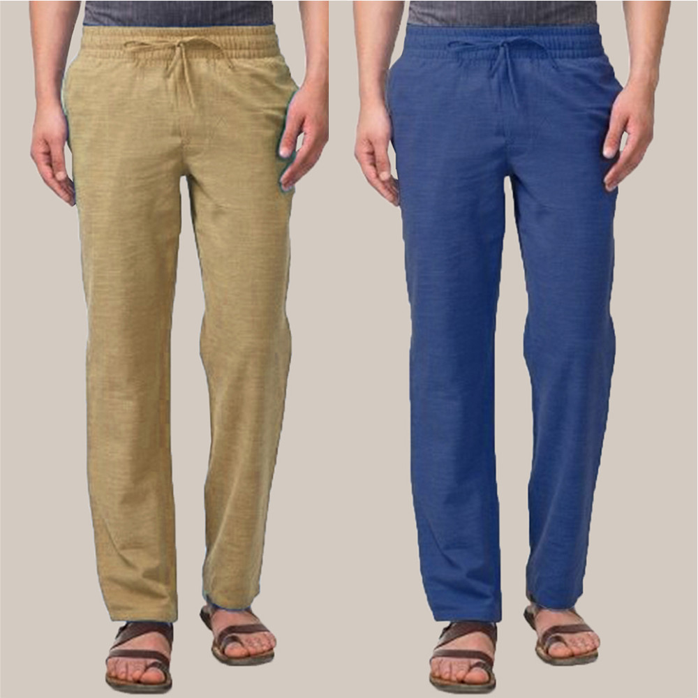 Combo of 2 Cotton Men Handloom Pant Olive Green and Blue-34874