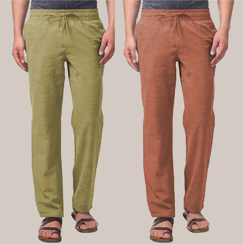 Combo of 2 Cotton Men Handloom Pant Olive Green and Brown-34862