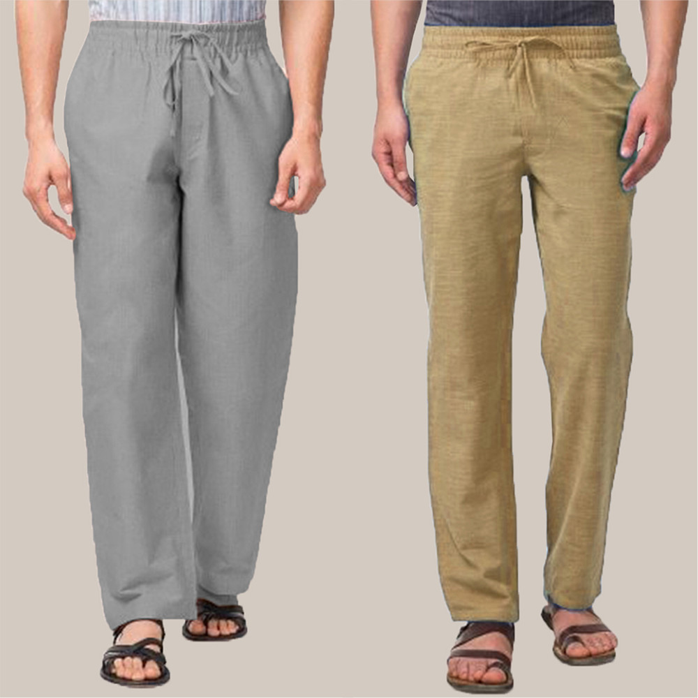 Combo of 2 Cotton Men Handloom Pant Olive Green and Gray-34853