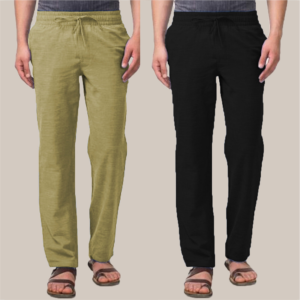 Combo of 2 Cotton Men Handloom Pant Olive Green and Black-34866