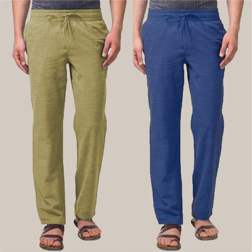 Combo of 2 Cotton Men Handloom Pant Olive Green and Navy Blue-34865