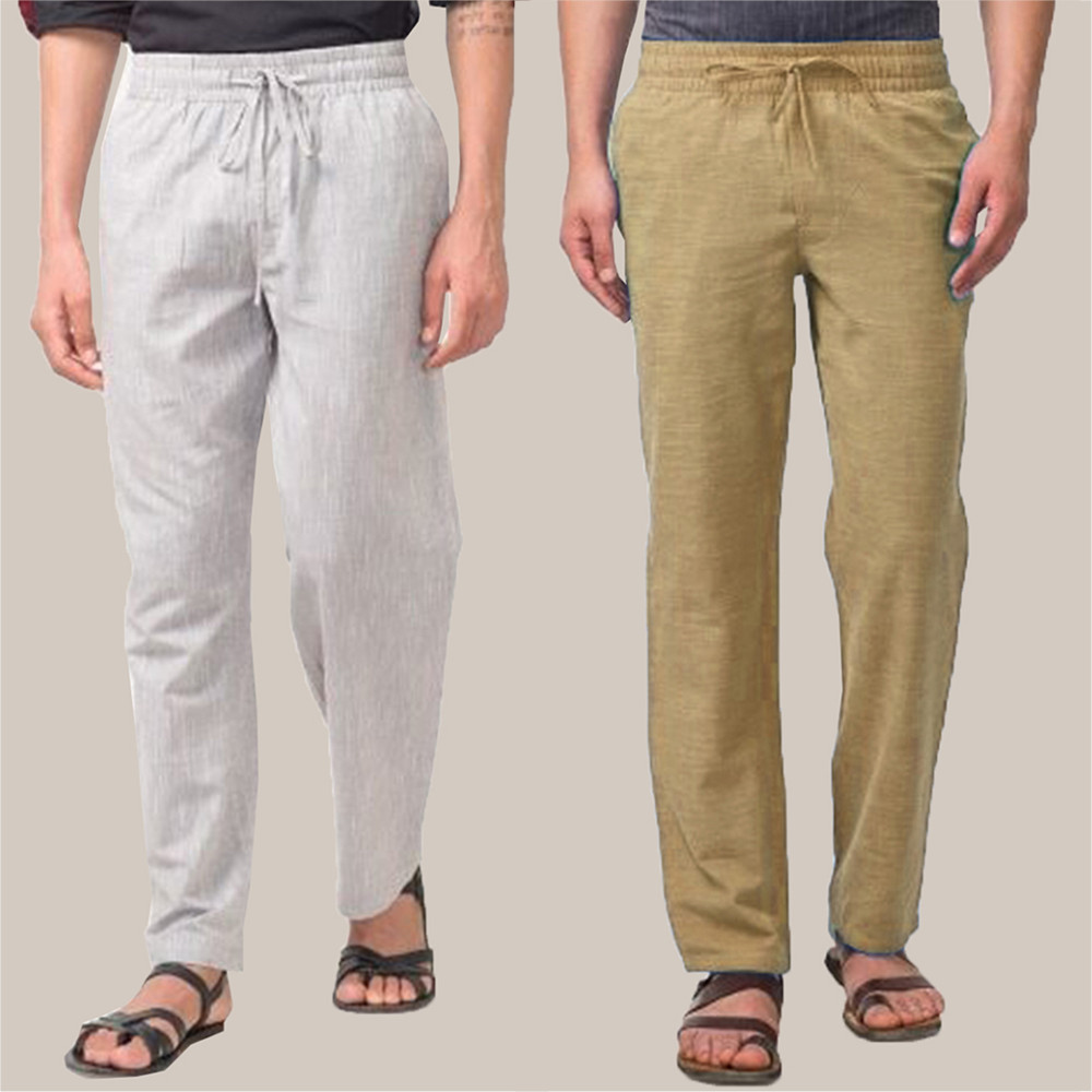 Combo of 2 Cotton Men Handloom Pant Olive Green and White-34841