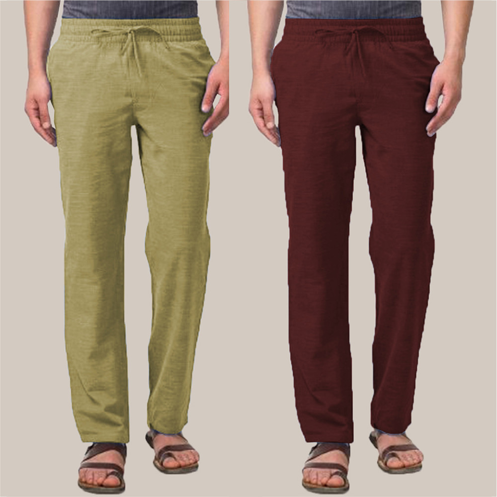Combo of 2 Cotton Men Handloom Pant Olive Green and Wine-34864