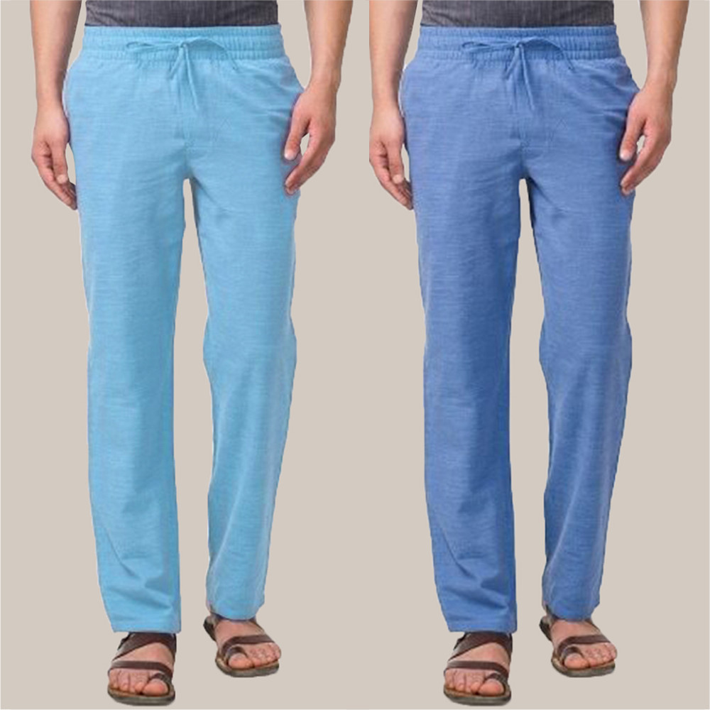 Combo of 2 Cotton Men Handloom Pant Sky Blue and Blue-34848