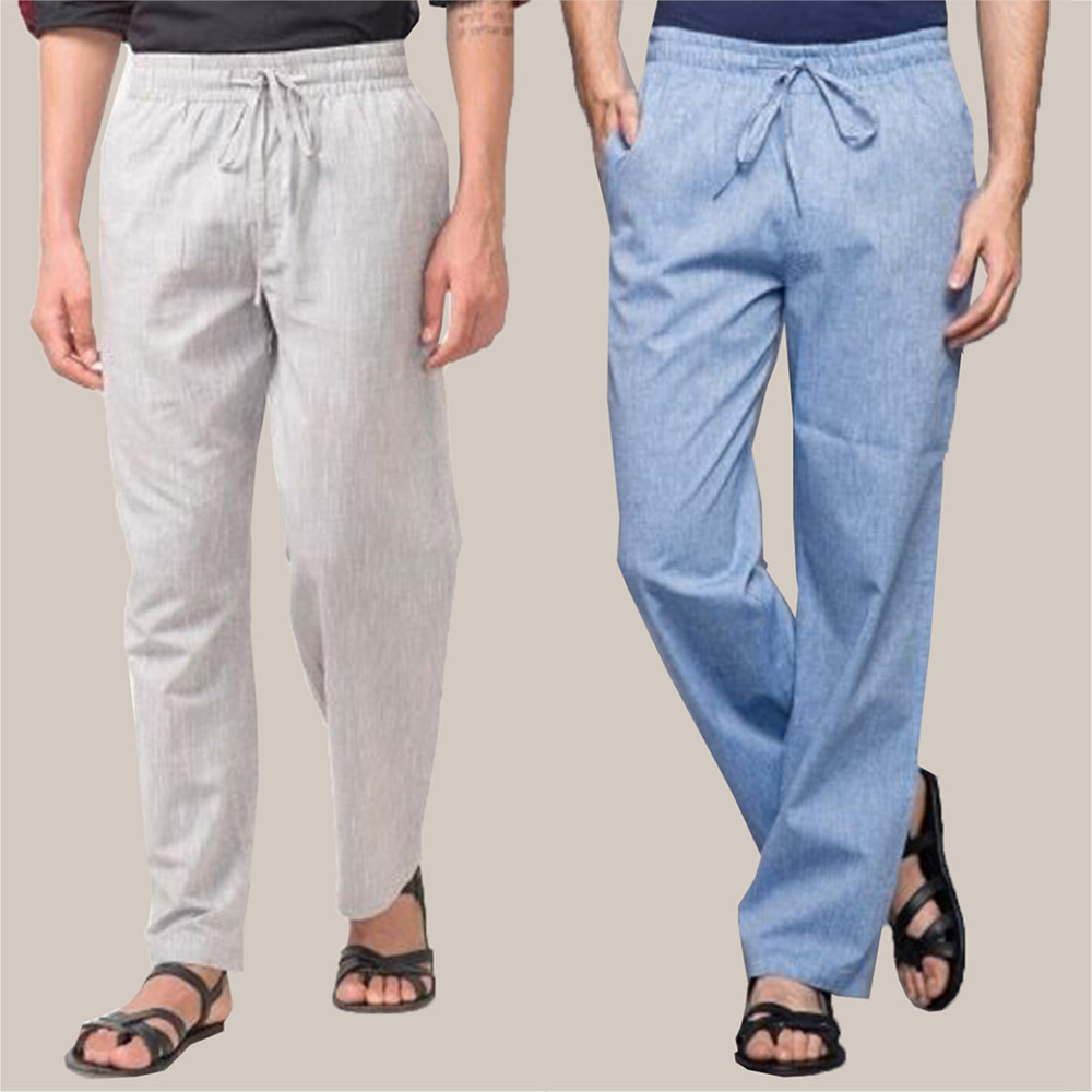 Combo of 2 Cotton Men Handloom Pant Sky Blue and White-34840