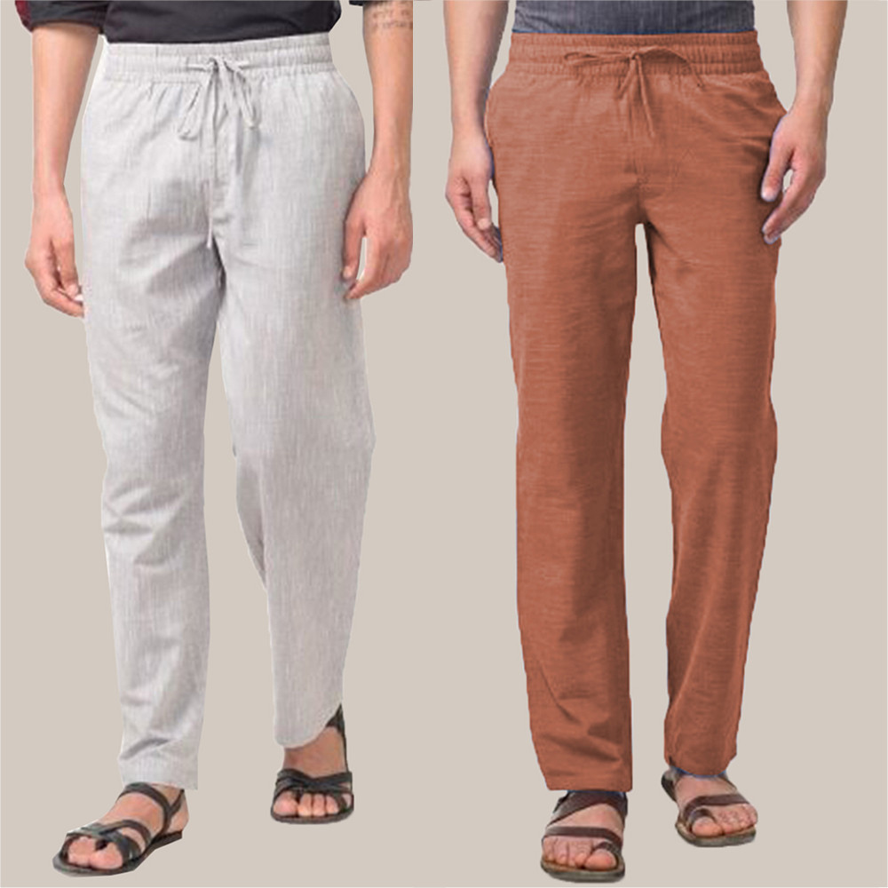 Combo of 2 Cotton Men Handloom Pant White and Brown-34839