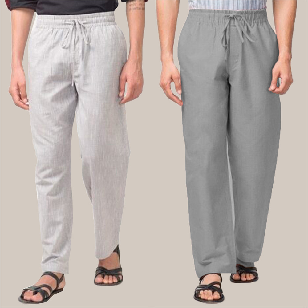 Combo of 2 Cotton Men Handloom Pant White and Gray-34838