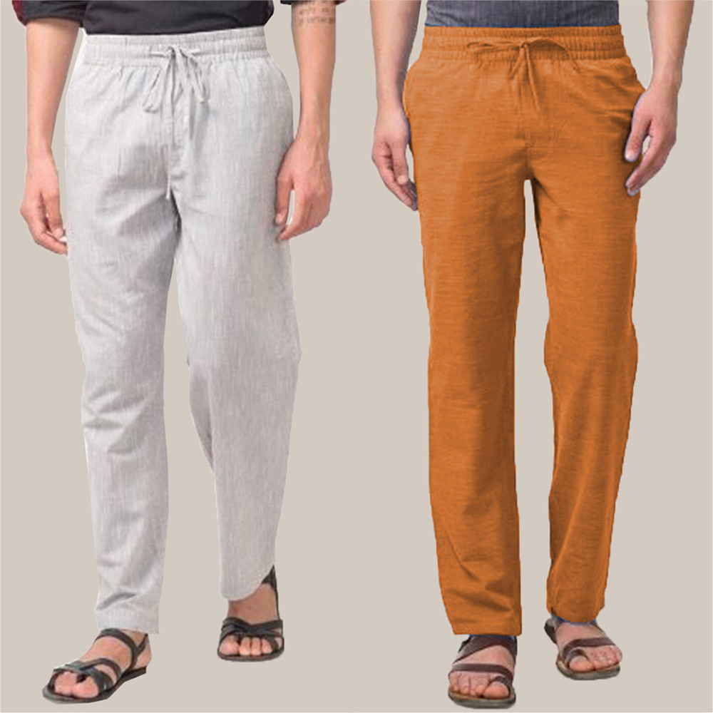 Combo of 2 Cotton Men Handloom Pant White and Mustard-34843