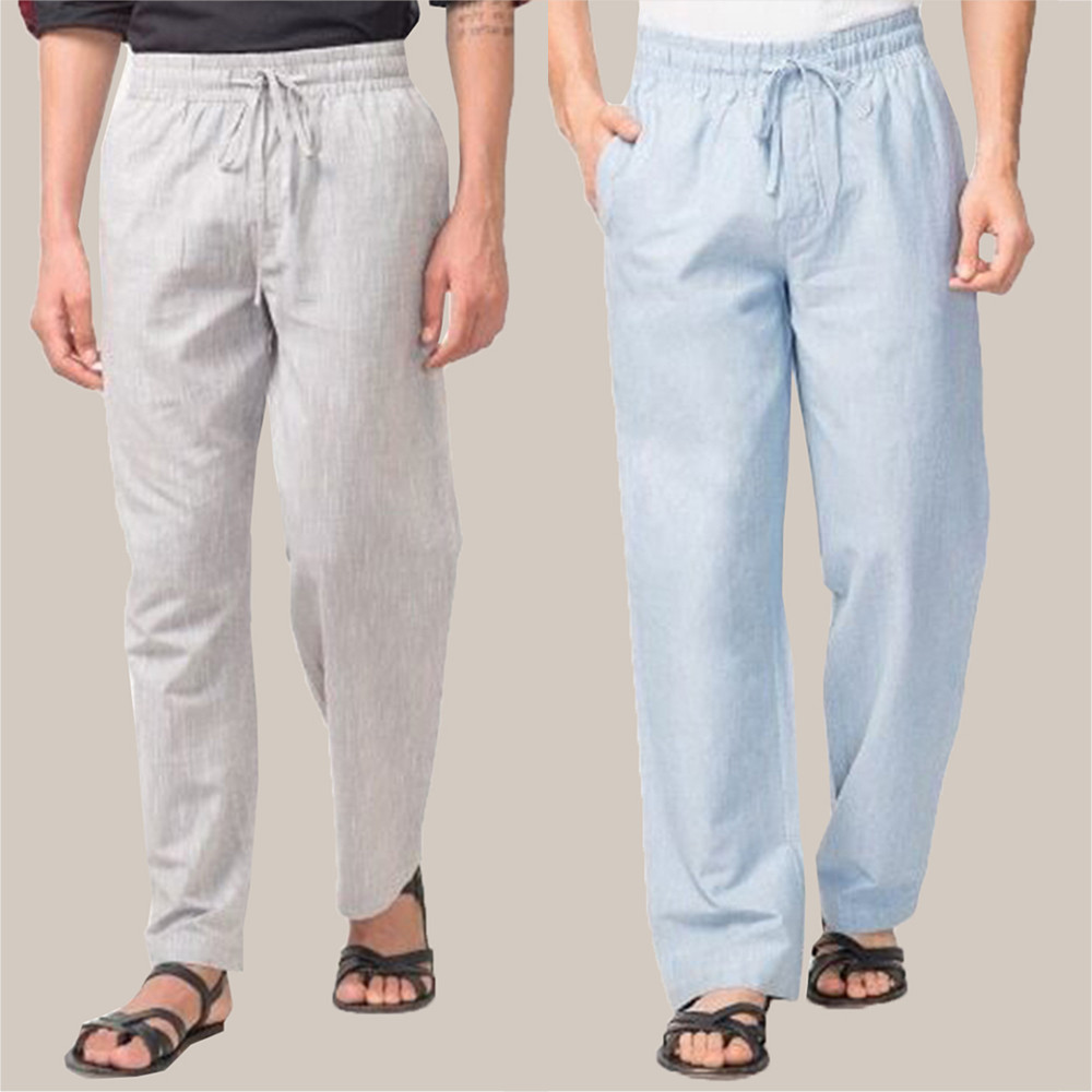 Combo of 2 Cotton Men Handloom Pant White and Sky Blue-34837
