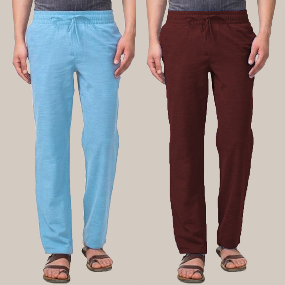 Combo of 2 Cotton Men Handloom Pant Wine and Blue-34849