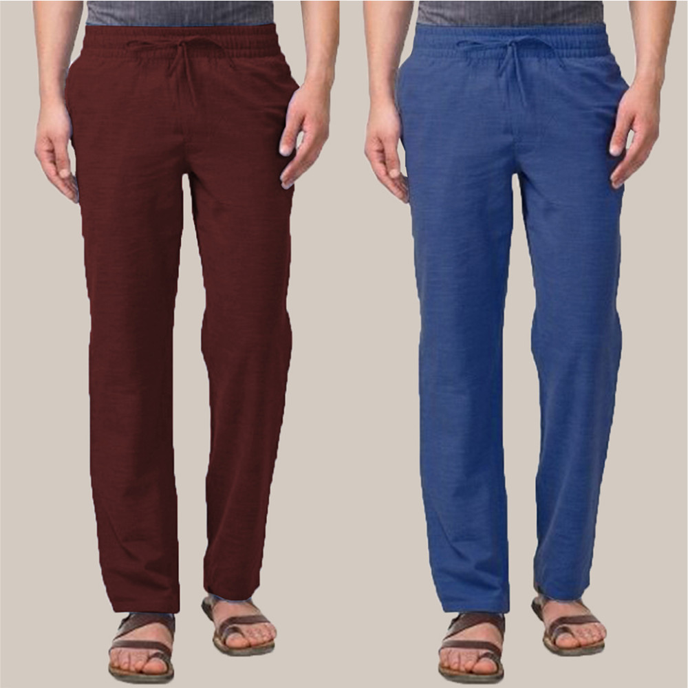 Combo of 2 Cotton Men Handloom Pant Wine and Blue-34882