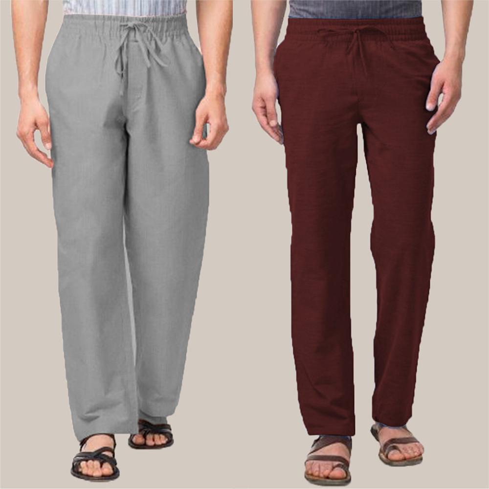 Combo of 2 Cotton Men Handloom Pant Wine and Gray-34854