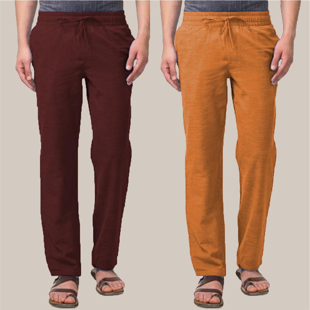 Combo of 2 Cotton Men Handloom Pant Wine and Mustard-34883