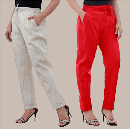 Combo of 2 Cotton Pant Beige and Red-34995