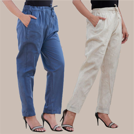 Combo of 2 Cotton Pant Blue and Beige-34998