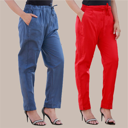 Combo of 2 Cotton Pant Blue and Red-35003