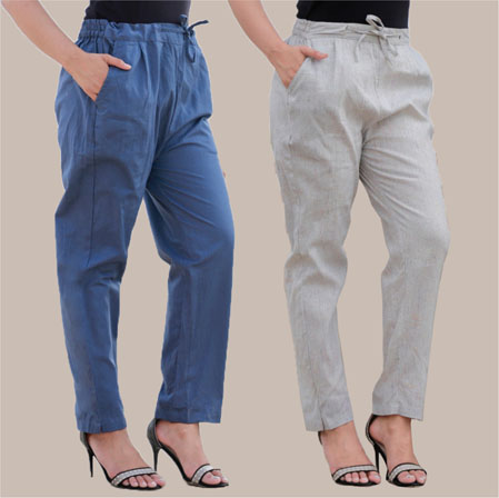 Combo of 2 Cotton Pant Blue and White-35010