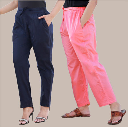Combo of 2 Cotton Pant Navy Blue and Pink-35009