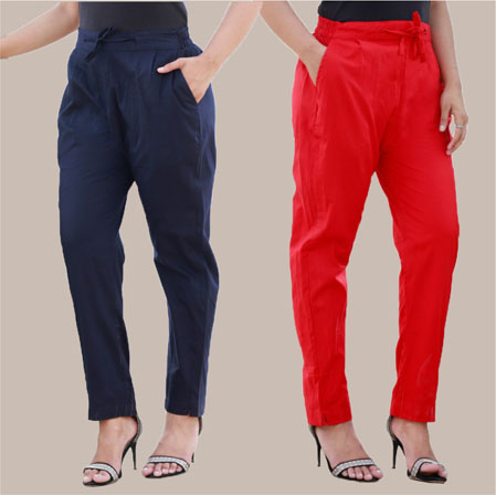 Combo of 2 Cotton Pant Navy Blue and Red-35005